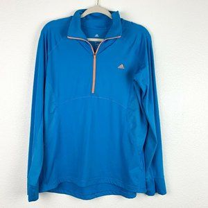 Adidas Womens XL Blue Climalite 1/2 Zip Pullover